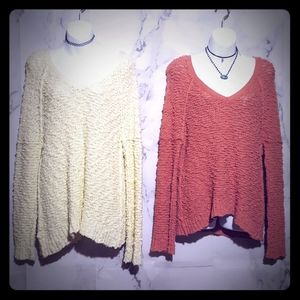 Set of 2 Free People Teddy Bear Sweaters Small S